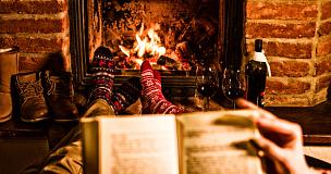 壁炉,书,异性恋,小别墅,袜子,主观视角,红葡萄酒,火,冬天