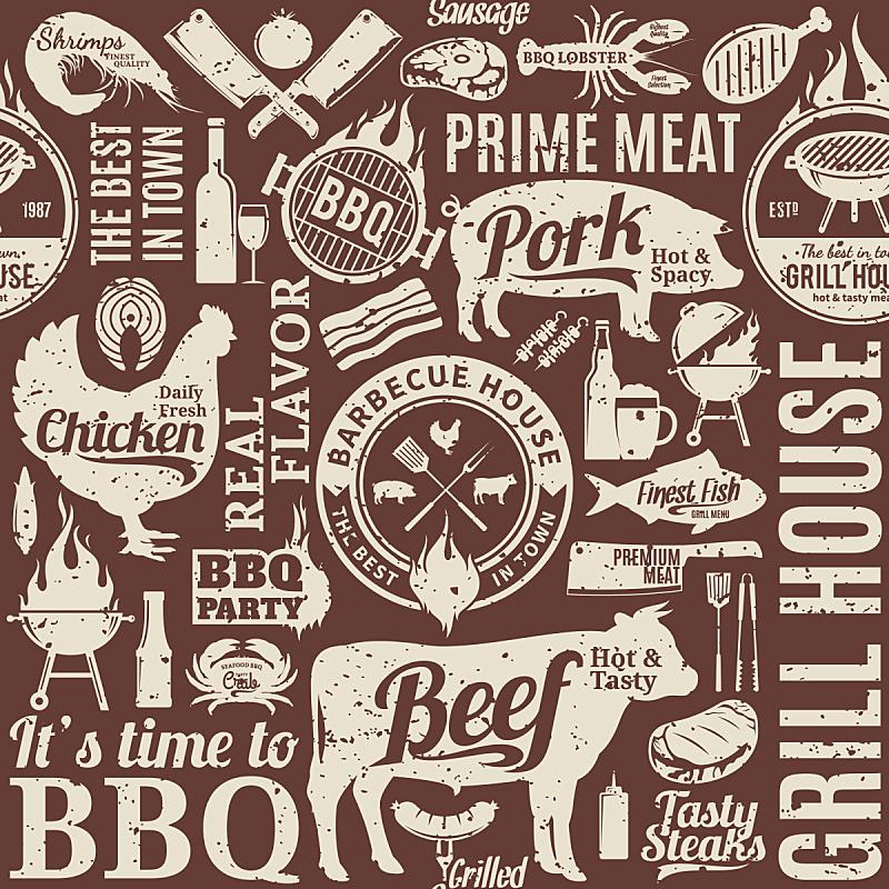 烤肉架,矢量,四方连续纹样,复古风格,熏猪肉,猪,龙虾,炊具刀,啤酒,肉