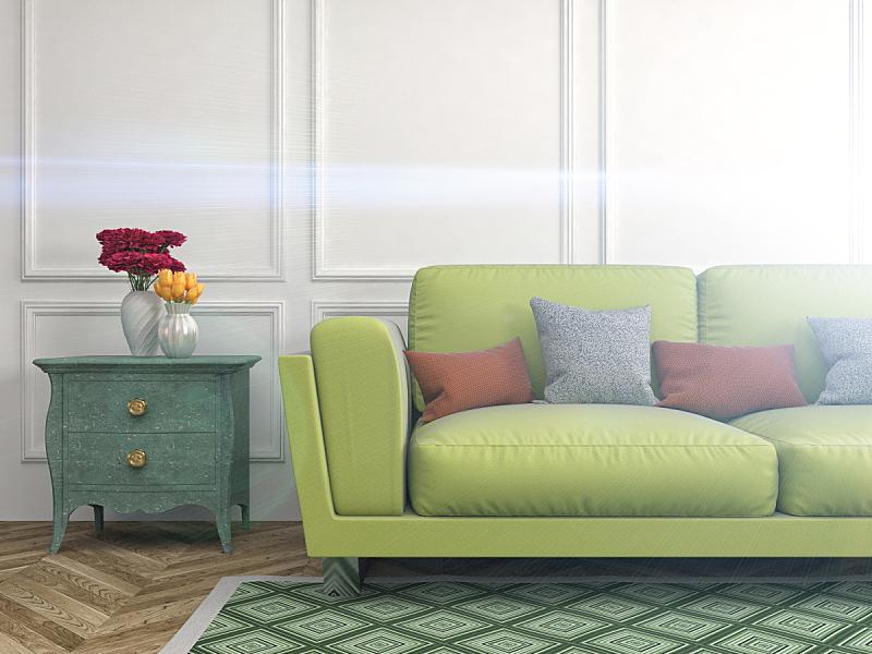 沙发,室内,三维图形,绘画插图,座位,水平画幅,无人,装饰物,家具,普罗旺斯