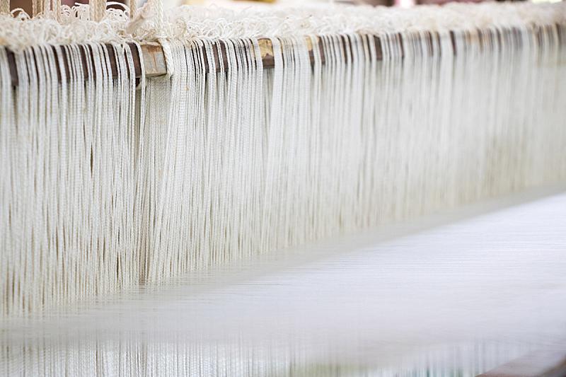 线,织机,白色,背景聚焦,留白,边框,水平画幅,纺织品,传统,纤维
