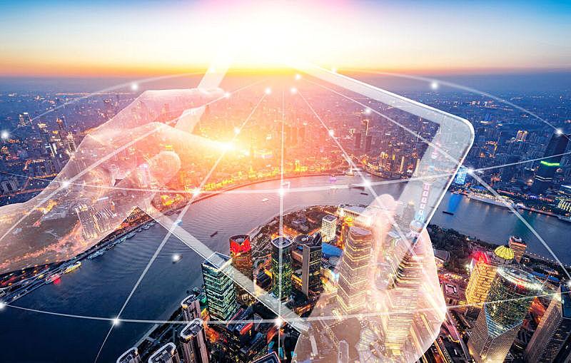上海,城市,风景,大数据,河流,计算机网络,全球通讯,计算机制图,留白,水平画幅