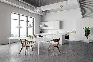 厨房,桌子,角落,白色,华贵,舒服,椅子,水槽,现代,钢铁