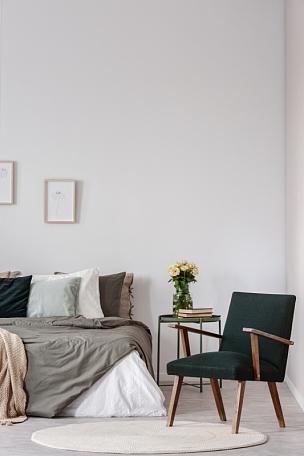 扶手椅,床,白色,室内,桌子,卧室,在上面,花,摄影