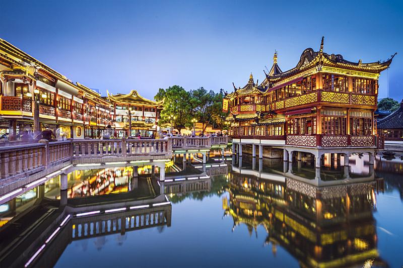 豫园,上海,水平画幅,夜晚,无人,曙暮光,户外,都市风景,夜生活,著名景点