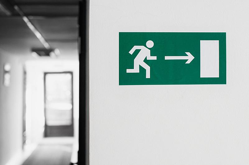 柏林墙,标签,悬挂的,紧急出口,箭,住宅房间,水平画幅,墙,人,箭头符号