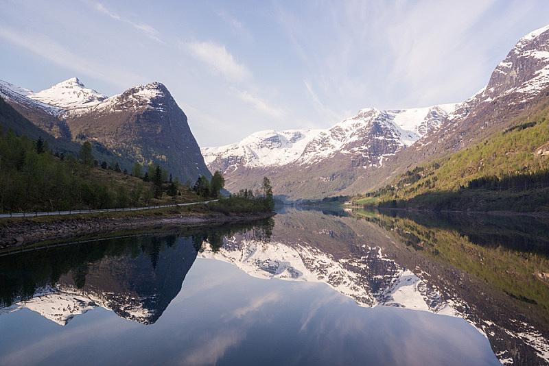 地形,峡湾,水,天空,美,水平画幅,雪,无人,户外,斯堪的纳维亚半岛