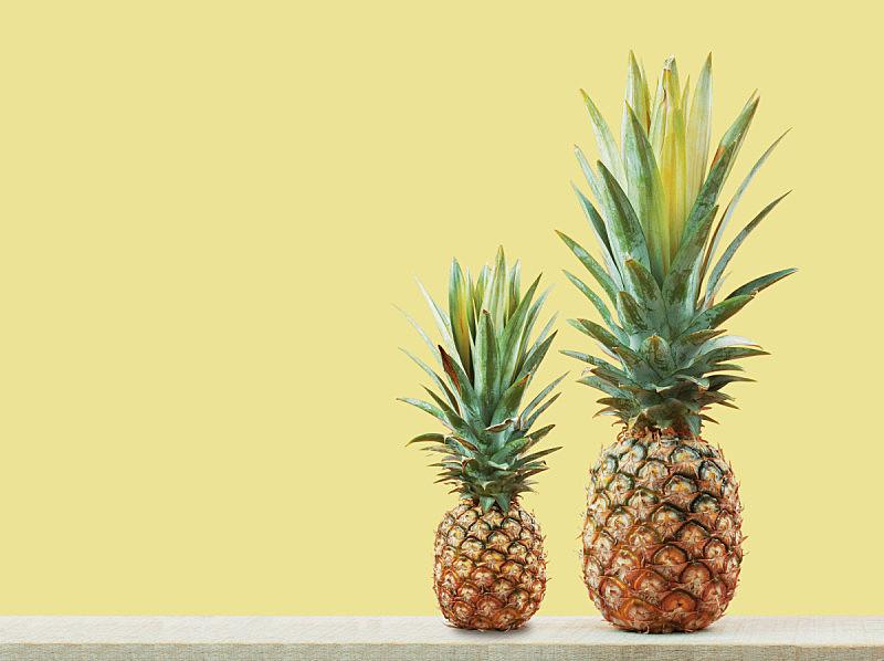 菠萝,木制,水平画幅,古老的,维生素,夏天,户外,泰国,农作物,彩色背景