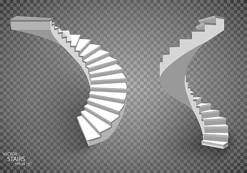 楼梯,白色背景,分离着色,三维图形,白色,螺旋梯,台阶,艺术,水平画幅,形状