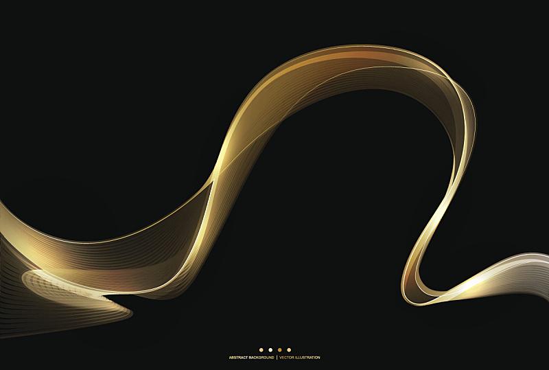 绘画插图,条纹,闪亮的,矢量,黄金,背景,抽象,黑色,波形,贺卡