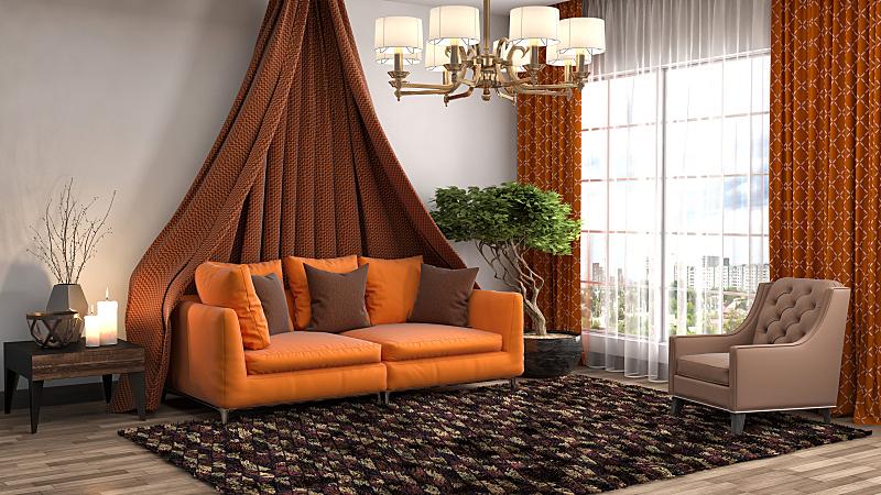 沙发,室内,绘画插图,三维图形,住宅房间,水平画幅,无人,装饰物,家具,公寓