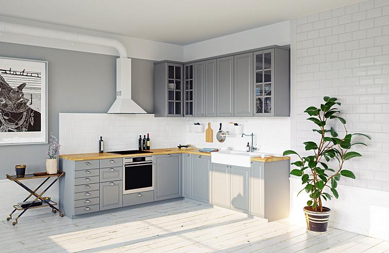 厨房,室内,式样,灰色,地板,复古风格,现代,装饰物,三维图形,绘画插图