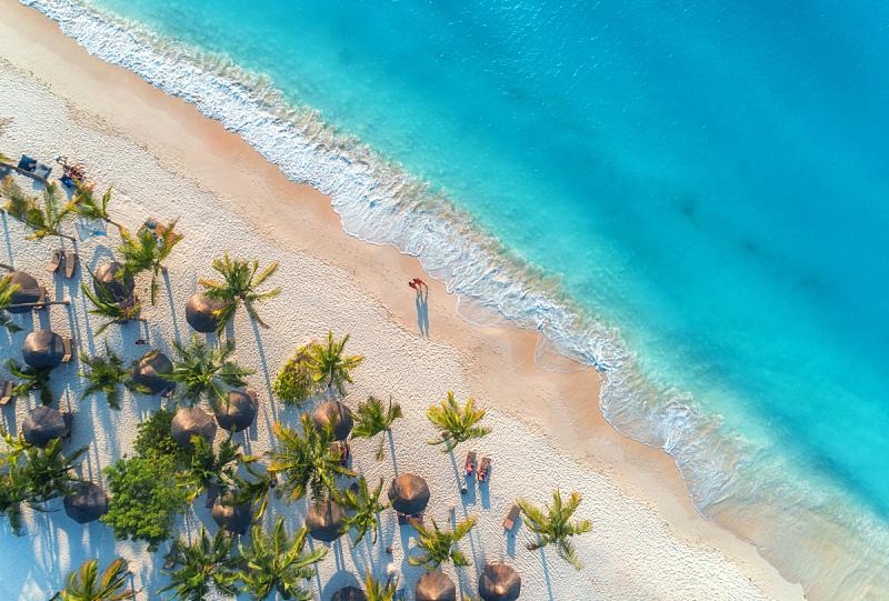 伞,非洲,棕榈树,看风景,波浪,阳伞,沙子,在上面,桑吉巴尔,人
