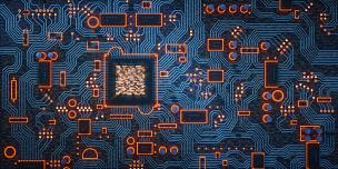 电路板,复杂性,暗色,平视角,母板,电脑芯片,电子行业,有序,橙色,数字化显示