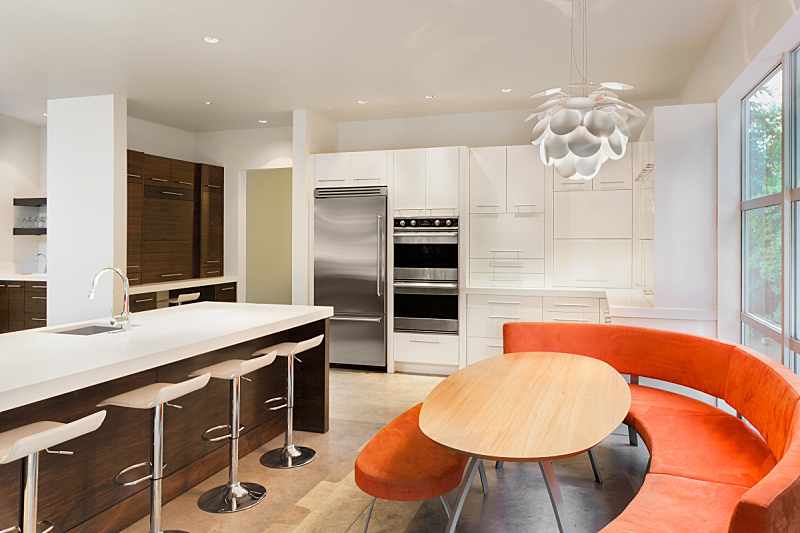 不锈钢,岛,住宅内部,华贵,厨房,自然美,褐色,新的,水平画幅,无人