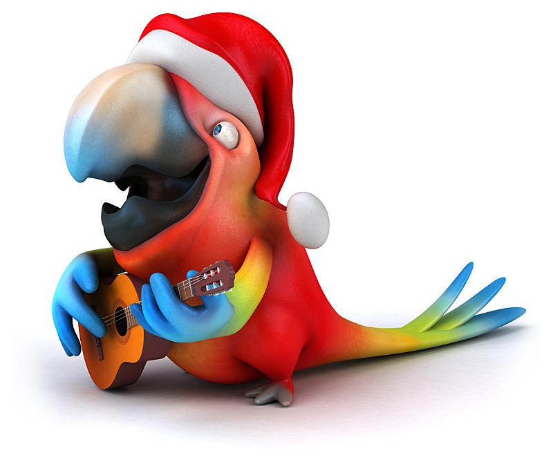 鹦鹉,热带鸟,野生动物,水平画幅,绿色,绘画插图,鸟类,圣诞老人,猩红色金刚鹦鹉