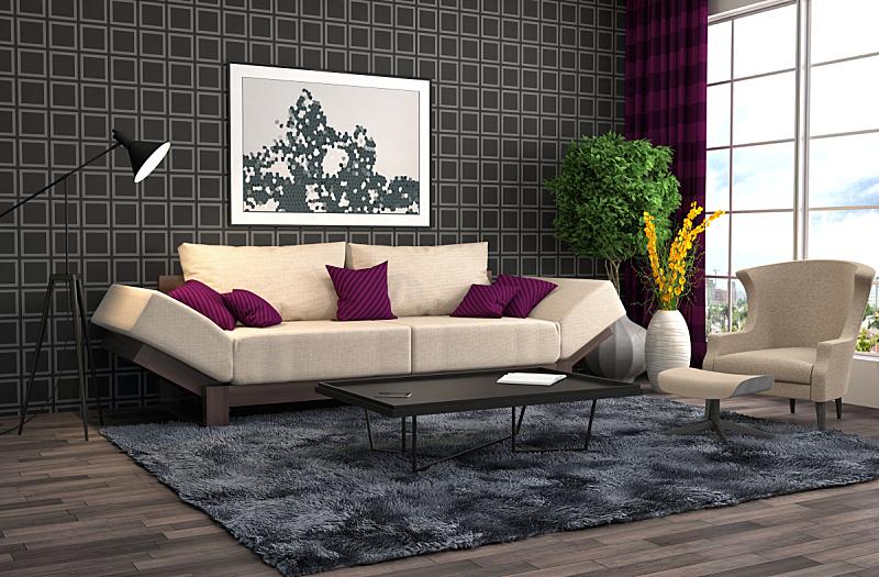 沙发,室内,三维图形,绘画插图,住宅房间,水平画幅,无人,装饰物,家具,舒服