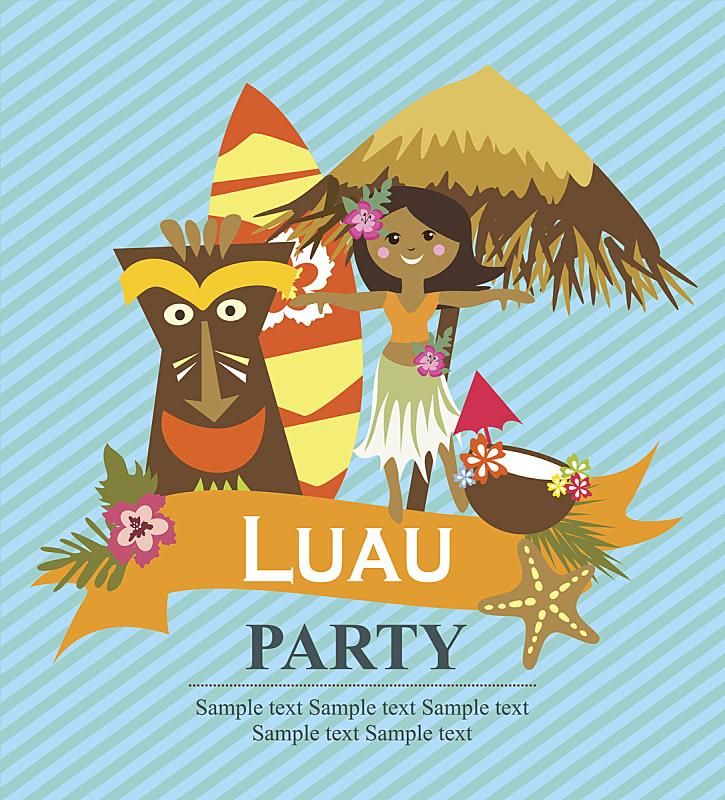 请柬,呼拉圈舞,哈萨克斯坦,女婴,热带植物图案,太平洋岛屿,夏威夷,垂直画幅,青少年,绘画插图