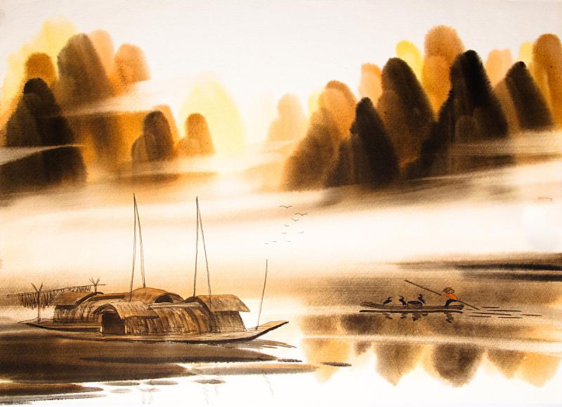 地形,水彩画颜料,绘画艺术品,水墨画,烟灰墨,绘画作品,墨水,水彩画,艺术,日本