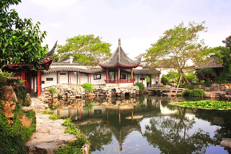 拙政园,苏州,中国,园艺展览,运河,江苏省,亭台楼阁,水平画幅,无人,古老的