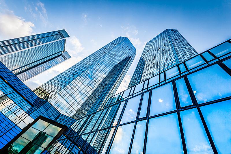 现代,天空,商务,蓝色,居住区,法兰克福,摩天大楼,办公楼外观,建筑外部,银行业