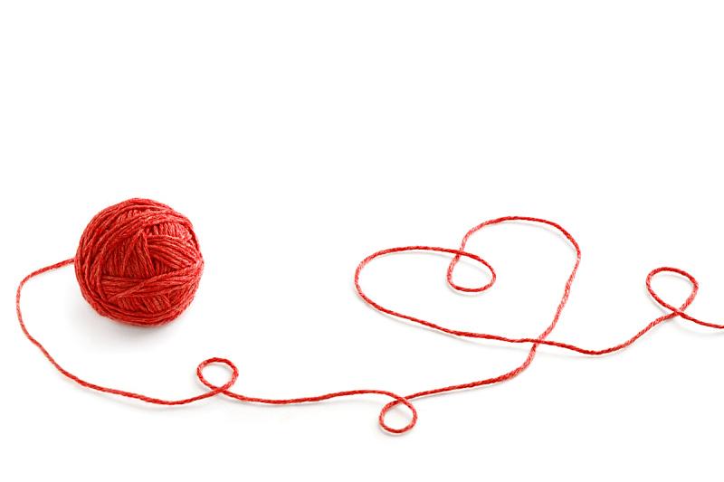 球,线,心型,羊毛,白色背景,分离着色,钩针编织品,水平画幅,形状,纺织品