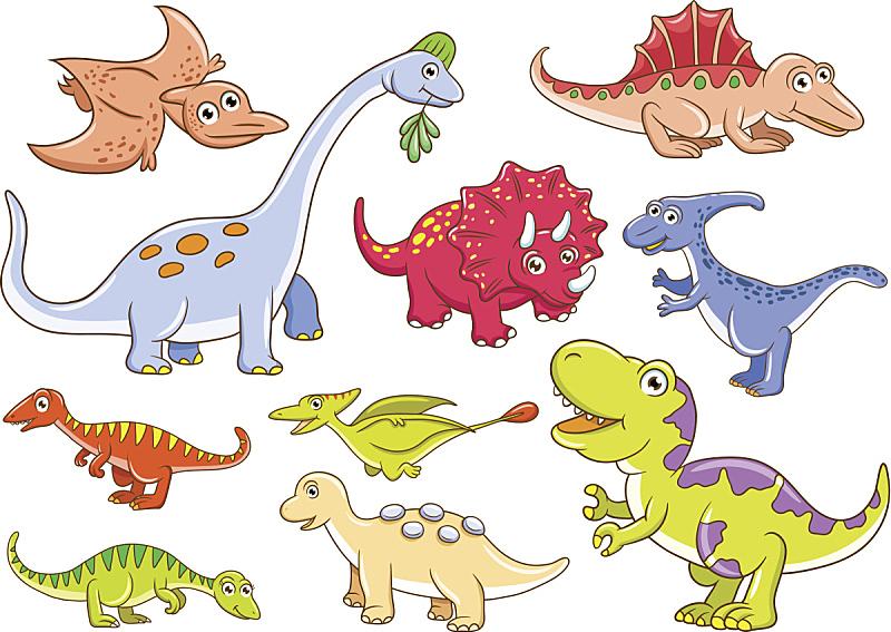 可爱的,恐龙,史前时代,绘画插图,性格,面部表情,背景分离,卡通,幼小动物,已灭绝生物