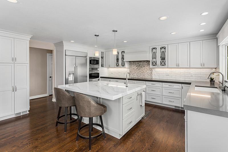 新的,硬木,住宅内部,华贵,项坠,厨房,岛,室内地面,照明设备,自然美