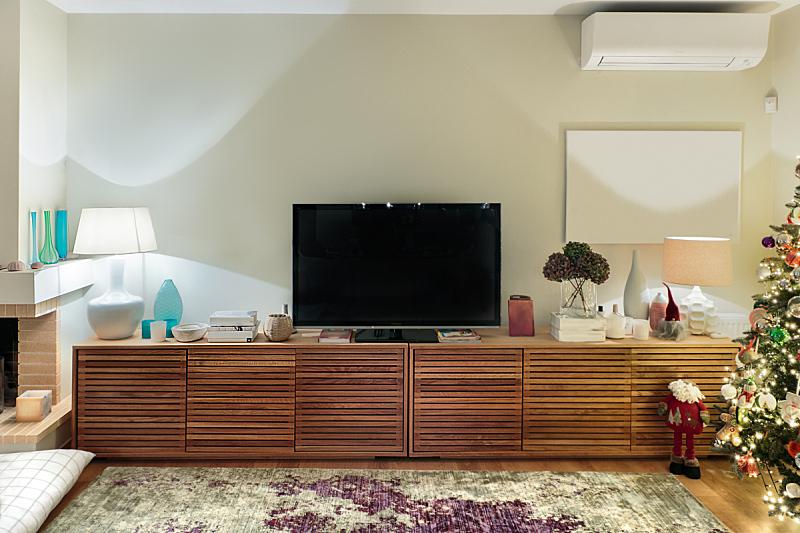 现代,柜子,木制,起居室,平坦的,电视机,边框,水平画幅,无人