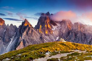 苏打,风景,在上面,山脉,瓦雷多三尖峰,山,宏伟,阿尔卑斯山脉,奥地利,瑞士