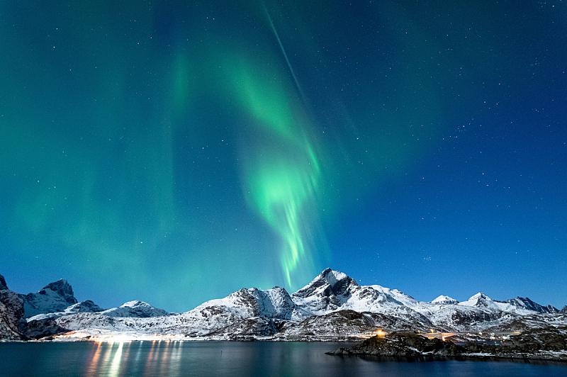 北极光, 罗弗敦群岛 ,挪威,天空,美,水平画幅,星星,夜晚,雪,无人