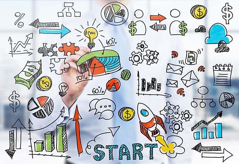 绘画插图,图表,商务人士,多色的,服装店,白板,流程图,商务策略,新的,水平画幅