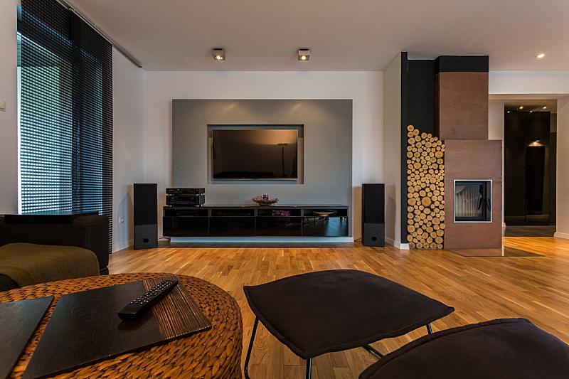 起居室,高雅,褐色,水平画幅,无人,架子,灯,沙发,照明设备,宽的