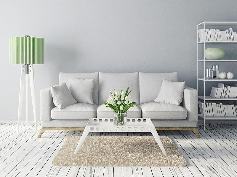现代,室内,住宅房间,水平画幅,建筑,无人,装饰物,灯,家具,舒服