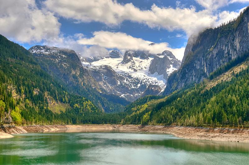 奥地利,山,阿尔卑斯山脉,湖,达特施泰因山脉,自然,山口,水平画幅,地形,岩石