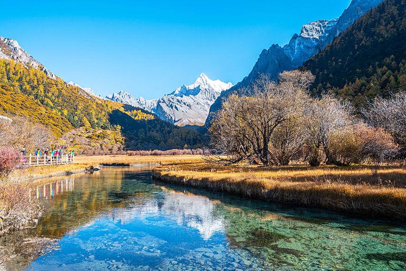 地形,河流,山,山谷,自然,黄色,旅途,风景,图像,无人