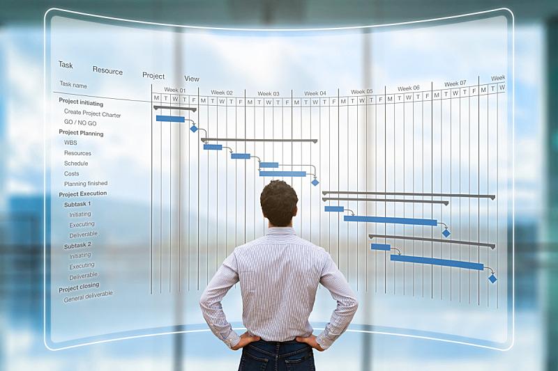 增强现实,看,投影屏幕,做计划,进出港显示牌,项目经理,甘特图,办公室,领导能力,水平画幅