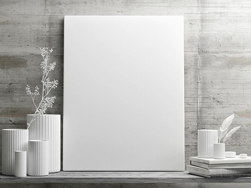 白色,轻蔑的,正下方视角,混凝土墙,简单,画布,边框,艺术,水平画幅