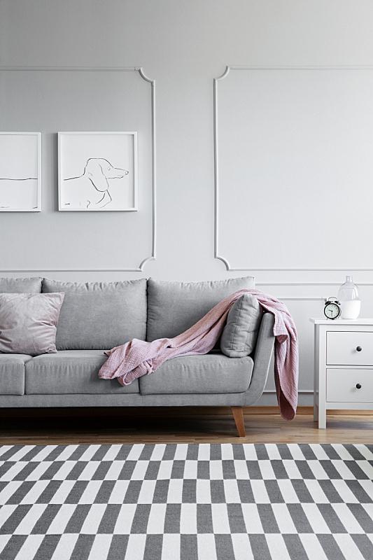 白色,垂直画幅,家具,黑白图片,式样,灰色,小毯子,起居室,室内地面,波兰