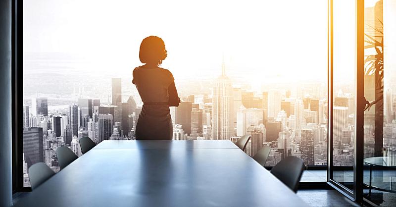 城市,储蓄,当地著名景点,慢跑,脐钉,首席执行官,透过窗户往外看,女商人,背面视角,都市风景