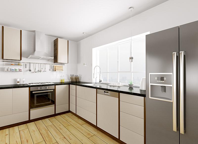 现代,三维图形,室内,厨房,饮水机,燃气灶,洗碗机,冰箱,冰柜,并排