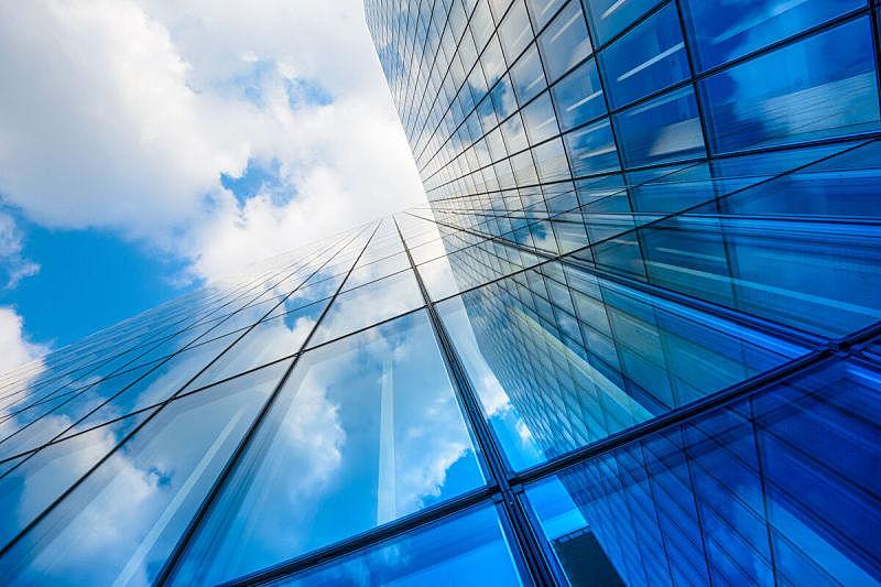 摩天大楼,正下方视角,建筑外部,建筑,天空,低视角,现代,蓝色,玻璃,外立面