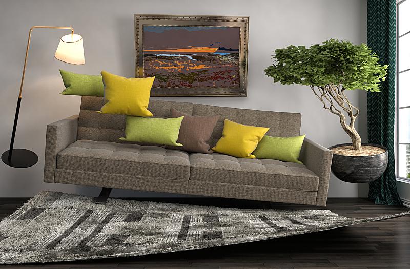 沙发,起居室,绘画插图,三维图形,住宅房间,水平画幅,建筑,无人,灯,家具