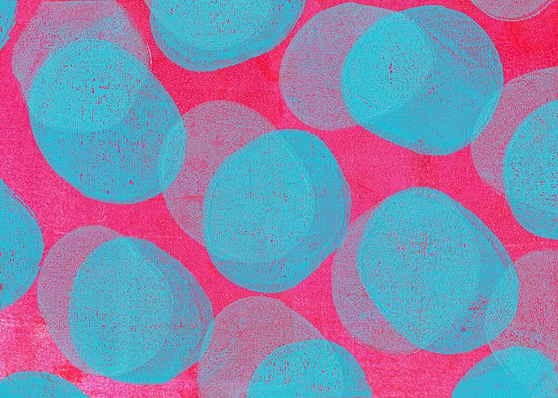 粉色,蓝色,背景,手艺,40-80年代风格复兴,混合素材纸本,品红色,多色背景,复合媒材,丙稀画