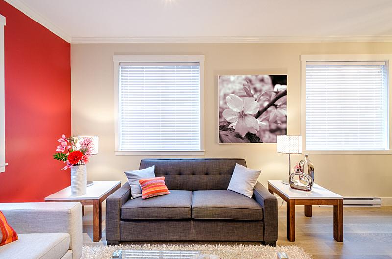 现代,沙发,起居室,室内设计师,红色,美,新的,水平画幅,墙,椅子