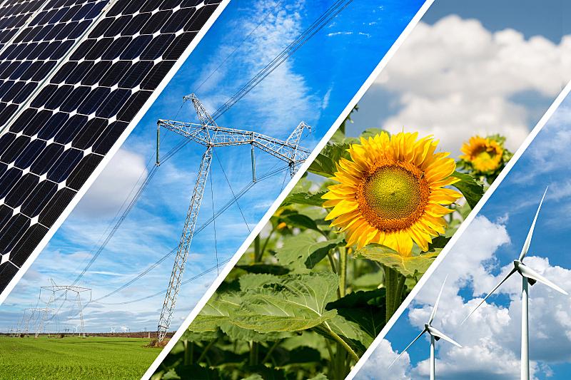替代能源,概念,可持续资源,抽象拼贴画,可再生能源,自然神力,农业,风车,未来,能源