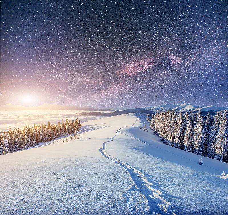 雪,夜晚,星系,冬天,银河系,非凡的,小路,星号,灯串,圣诞小彩灯