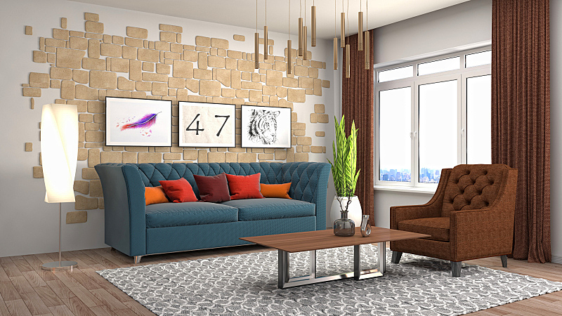 室内,起居室,三维图形,绘画插图,扶手椅,褐色,座位,水平画幅,无人,家具