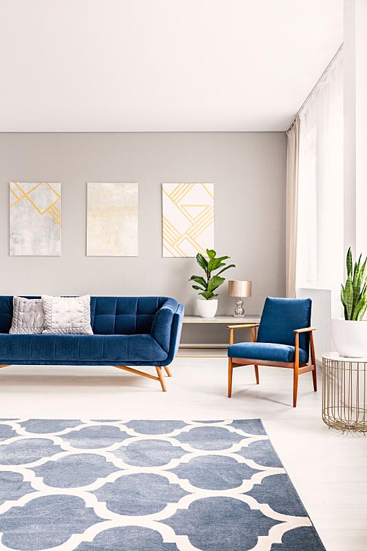 扶手椅,沙发,小毯子,背景,极简构图,室内,巨大的,太空,室内地面,摄影