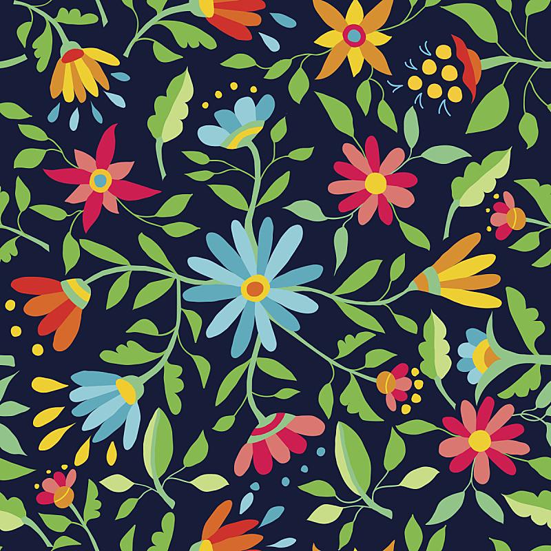 四方连续纹样,春天,彩色背景,美术工艺,环境保护,非洲雏菊,复古风格,现代,背景,夏天