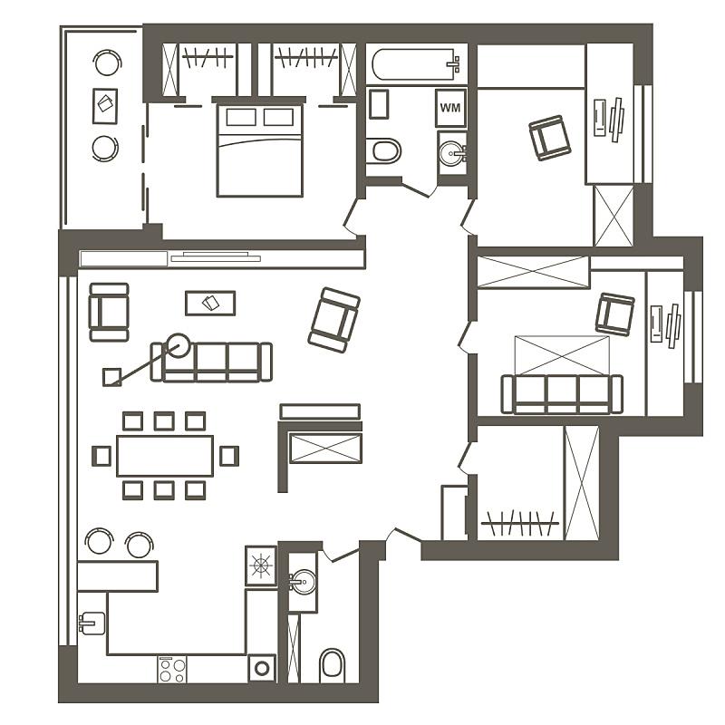 公寓,计划书,建筑,卧室,直的,草图,三个人,生活方式,图像,家具
